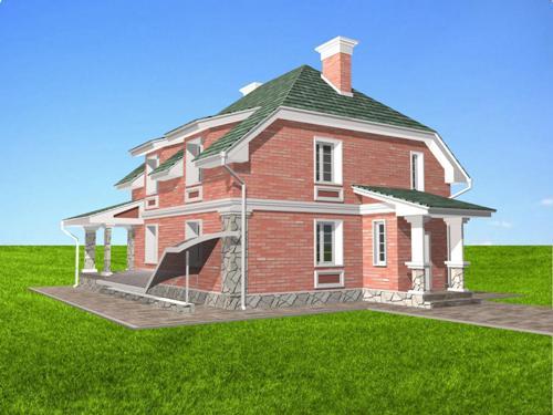 Общий вид проекта мансардного дома 258 кв.м