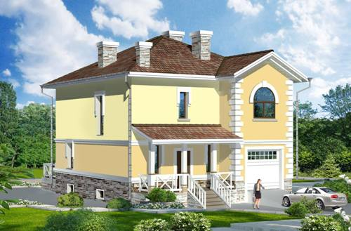 Общий вид проекта двухэтажного дома 227 кв.м