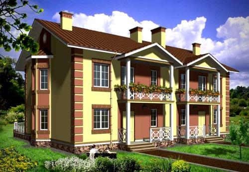 Общий вид проекта двухэтажного дома 286 кв.м