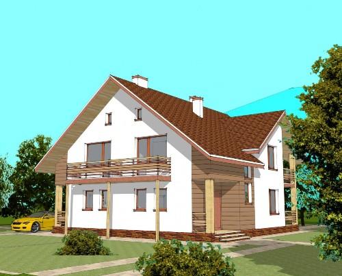 Общий вид проекта мансардного дома 235 кв.м