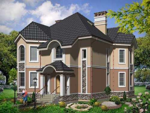 Общий вид проекта двухэтажного дома 254 кв.м