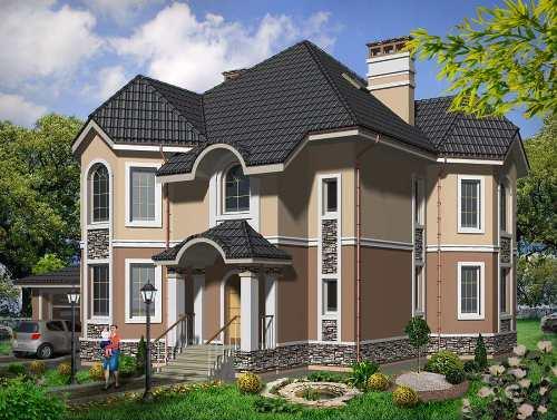 Общий вид проекта двухэтажного дома 297 кв.м