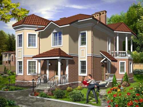 Общий вид проекта двухэтажного дома 212 кв.м