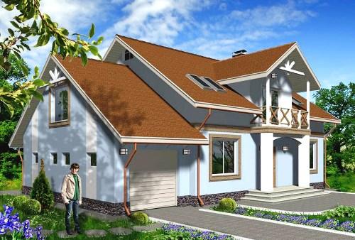 Общий вид проекта мансардного дома 221 кв.м