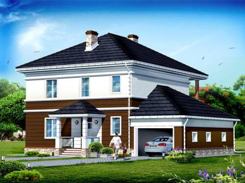 Общий вид проекта двухэтажного дома 249 кв.м