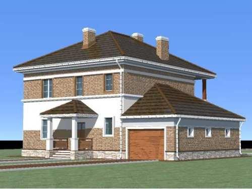 Общий вид проекта двухэтажного дома 242 кв.м