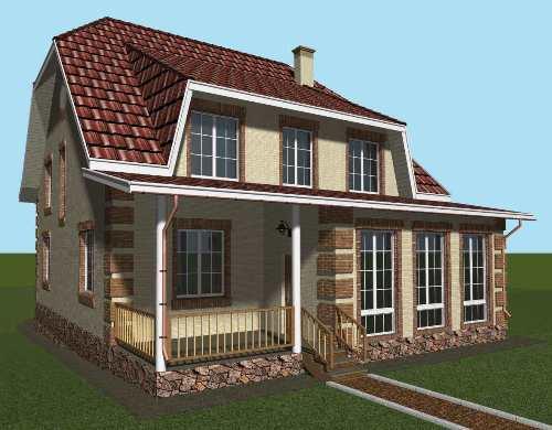 Общий вид проекта мансардного дома 229 кв.м