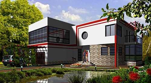 Общий вид проекта двухэтажного дома 294 кв.м