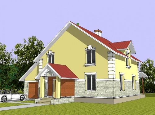 Общий вид проекта мансардного дома 217 кв.м