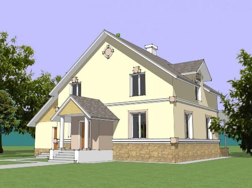 Общий вид проекта мансардного дома 218 кв.м
