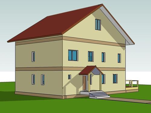 Общий вид проекта двухэтажного дома 221 кв.м