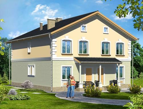 Общий вид проекта двухэтажного дома 255 кв.м
