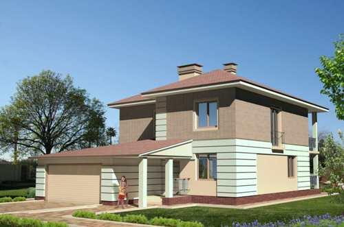 Общий вид проекта двухэтажного дома 216 кв.м