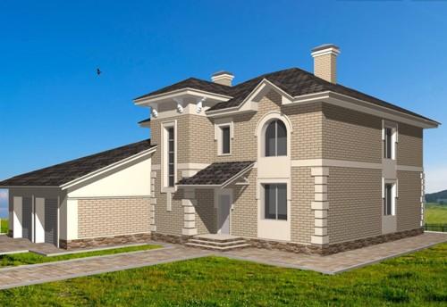 Общий вид проекта двухэтажного дома 238 кв.м
