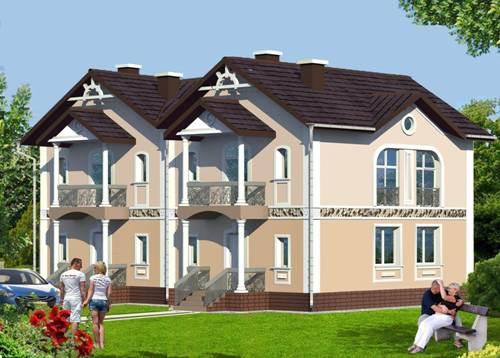 Общий вид проекта двухэтажного дома 220 кв.м