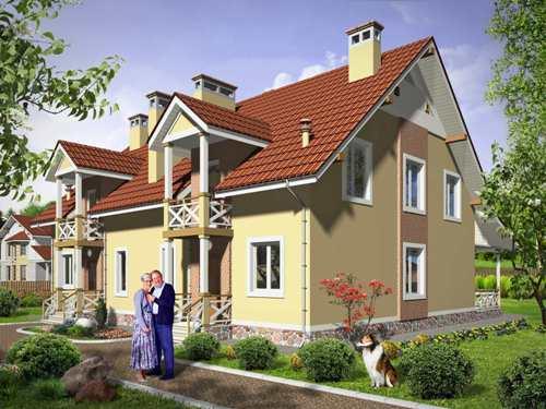 Общий вид проекта мансардного дома 277 кв.м