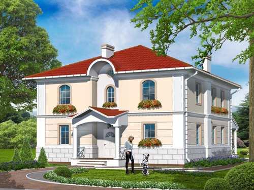 Общий вид проекта двухэтажного дома 214 кв.м