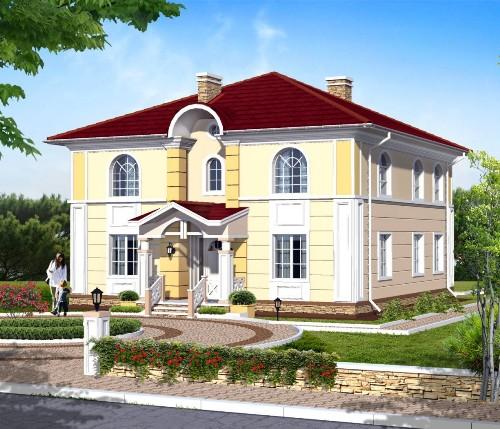 Общий вид проекта двухэтажного дома 210 кв.м