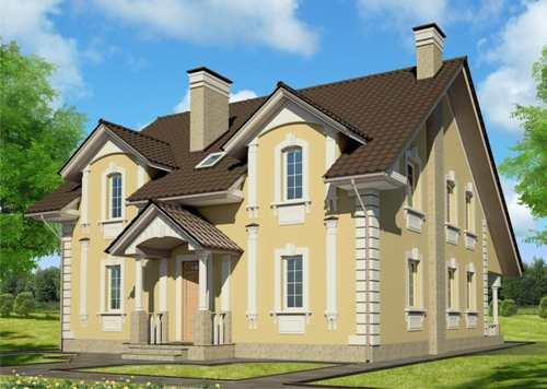 Общий вид проекта двухэтажного дома 218 кв.м