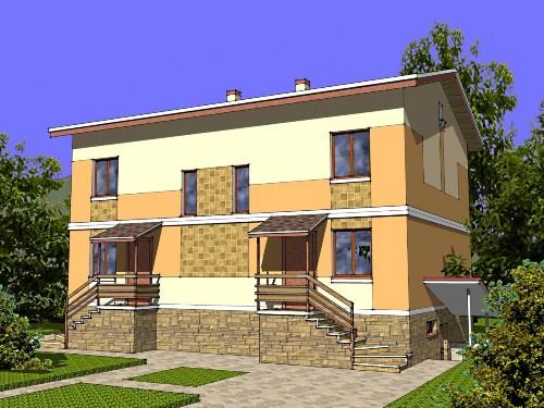 Общий вид проекта двухэтажного дома 261 кв.м