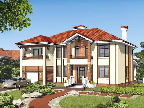 Общий вид проекта двухэтажного дома 260 кв.м