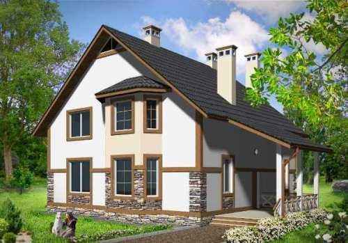 Общий вид проекта двухэтажного дома 211 кв.м
