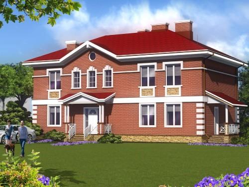 Общий вид проекта двухэтажного дома 293 кв.м