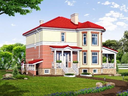 Общий вид проекта двухэтажного дома 264 кв.м