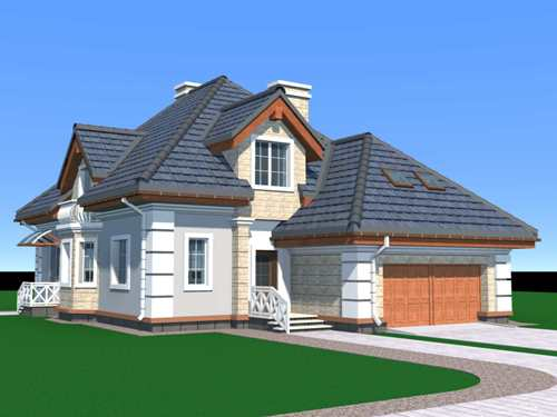 Общий вид проекта мансардного дома 262 кв.м