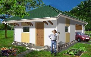 Проект сарая с гаражом 40 кв.м — 101-040